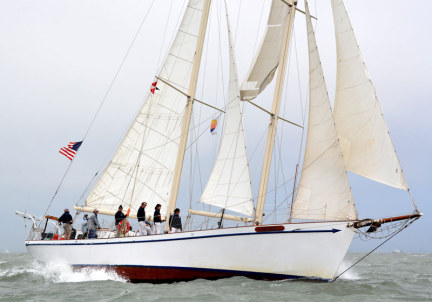 The Seaward, an 82 foot staysail schooner berthed in Sausalito California and being used for Modern Sailing's Mexico Trip
